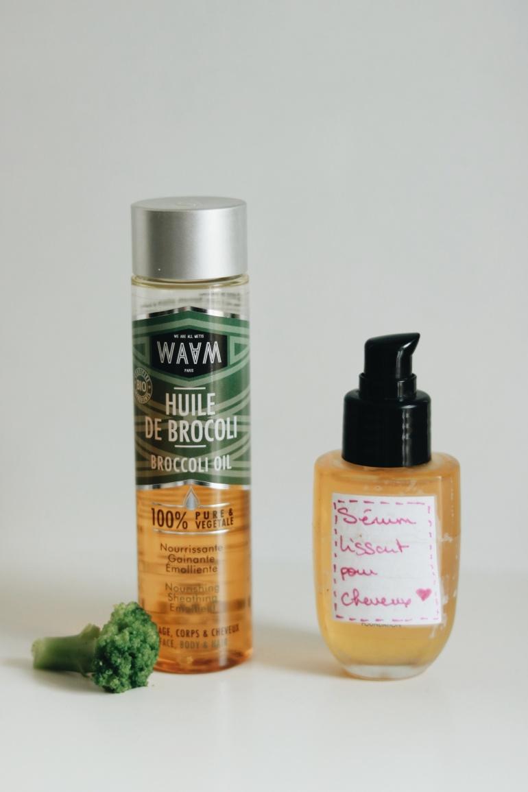 sérum lissant pour cheveux à l'huile de brocoli et à l'huile de pracaxi